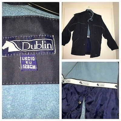 New Child's Girls Dublin Riding Waterproof Coat With Hood - Navy Blue - Size 10