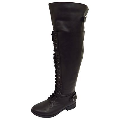 Womens Black Extra Wide Calf Fit Lace-Up Biker Knee-High Riding Tall Boots 6-11