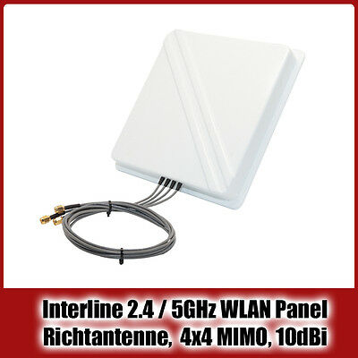 Interline 2.4 / 5GHz WLAN Panel Richtantenne, Dual-Band, 4x4 MIMO, 10dBi