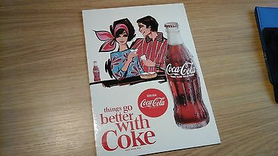 RARE 1960s ORIGINAL COCA COLA COUNTER TOP EASEL STAND CARDBOARD ADVERTISING SIGN