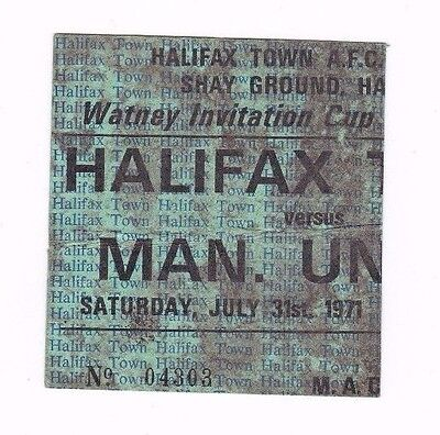 1971 WATNEY CUP Halifax Town v Manchester United (SCARCE GREEN TICKET)