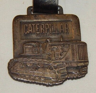 Vintage Caterpillar Bulldozer Tractor advertising watch fob and strap