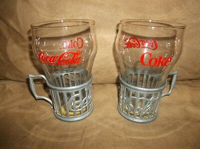 Vintage Coca-Cola Glasses with Metal Holders - Set of 2 – New!