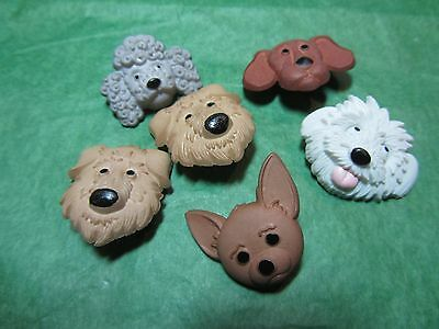 "(6)  3/4""+ PLASTIC PUPPY DOG FACE SHANK BUTTONS - Lot#N115"
