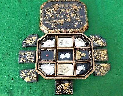 Superb Georgian Period Chinese Lacquer Games Box & Period Contents