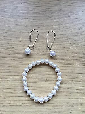 Womens Jewellery Peral Set Of Earrings With Drop Pearl And Bacelet