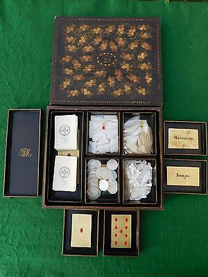 Superb Georgian Period Chinese Lacquer Games Box & Period Monogrammed Contents