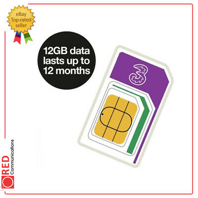 Three Internet with Legs Trio data Sim 12GB (last for up to 12 months)