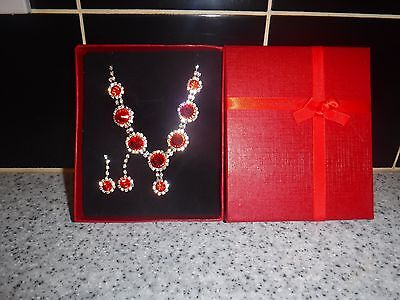 New, Boxed, Red&silvertone Costume Necklace & Matching Earrings Set.