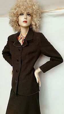 ViNtAgE 1960s 70s Windsmoor boucle wool wiggle skirt SUIT Fitted Jacket, 14 chic
