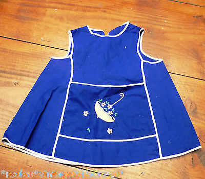 ViNtAgE 50s blue childs apron pinny Age1- 2 years  Rockabilly painting kangaroo