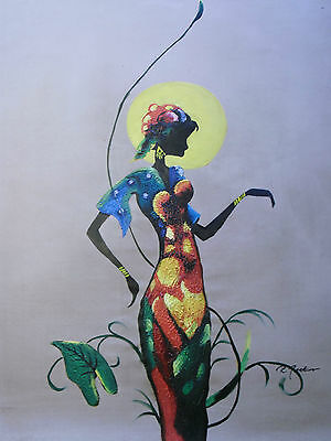 """20""""x24"""" Unstretched oil painting on canvas. 100% hand-painted. Woman standing."""