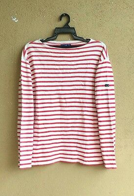Saint James Red And White Striped Nautical Long Sleeve Tee (France)
