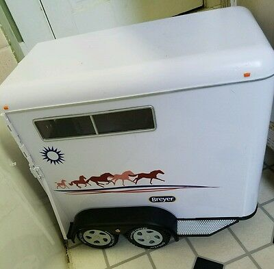 BREYER Traditional LARGE White Two 2 -HORSE TRAILER Model Horses  2002 RARE