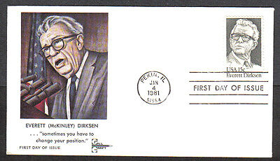 Us Fdc 1981 Everett Dirksen 15C Gill Craft Cachet First Day Of Issue Cover Il