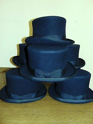 Vintage navy blue wool felt top hat topper Victorian Steampunk Dickens pick size