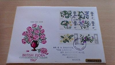 1967 British Flora Phosphor First Day Cover-Battersea
