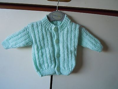 Hand knitted green cardigan Baby boy Chest 16""