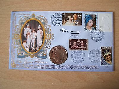 BENHAM FIRST DAY SIGNED COIN COVER THE QUEEN MOTHERS 100th BIRTHDAY