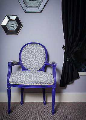 French Louis Armchair Purple Swirl Vintage Floral Shabby Chic Chair Bedroom