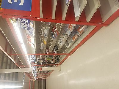EX STAPLES BARGAIN SHOP SHELVING WITH ALL SHELVING, LIGHTS AND FIXTURES 4ft wide