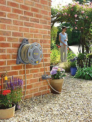 Wall Mounted Hose Reel Compact Garden Outdoor Watering Pipe Lawn Flower Grass