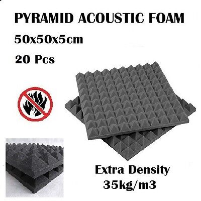20 x Studio Acoustic Foam Panel Tile Sound Absorption Proofing Treatment Wedge