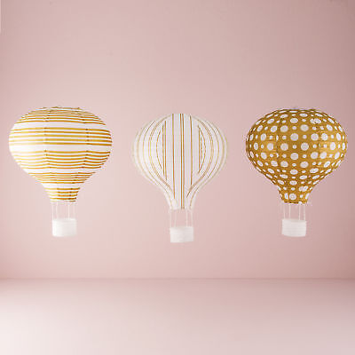 Paper Hot Air Balloon Lanterns Favours in Gold and White Patterns 3 Pack