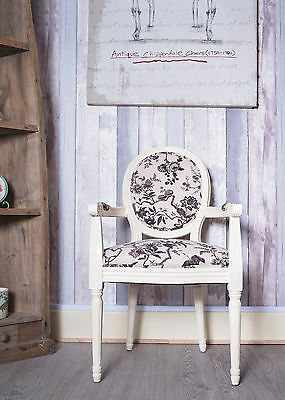 French Louis Armchair Beige Cream Brown Floral Shabby Chic Room Antique Chair