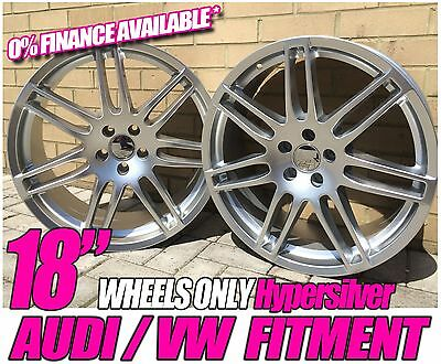 """18"""" Rs4 Style Hypersilver Alloy Wheels Fits Audi A4 B7 04 07 And A3 A5 A6 A8 Tt"""