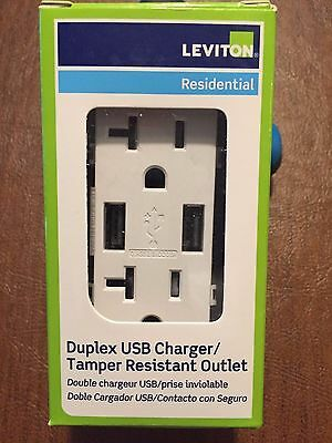 Leviton USB charger/electrical receptacle T5832-W