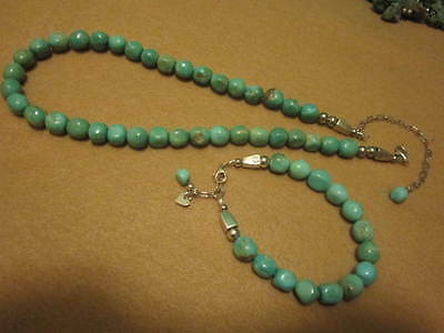 Southwestern Turquoise  Beaded Necklace & Bracelet  Beads  Sterling  925 Deco
