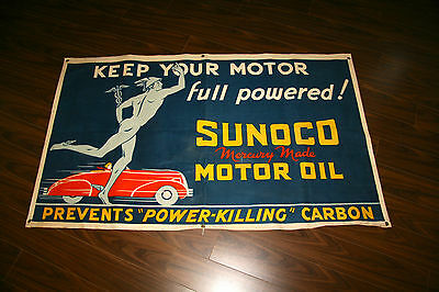 Vintage NOS Sunoco Mercury made motor oil Cloth Station banner 1930's. Very Rare