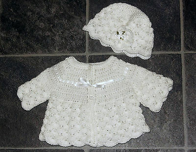 *SALE* Handmade Crochet Newborn Baby Matinee Coat and Hat Trimmed in White