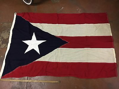 Vintage Puerto Rico Flag Stitched Annin Wool Bunting 6' X 4'