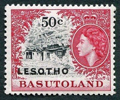 LESOTHO 1966 50c black and carmine-red SG119B MNH FG Mission Cave House #W7