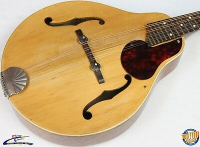 Vintage 1950's Kay / Silvertone  A-Style Mandolin w/ Case, Natural, '50s #7068