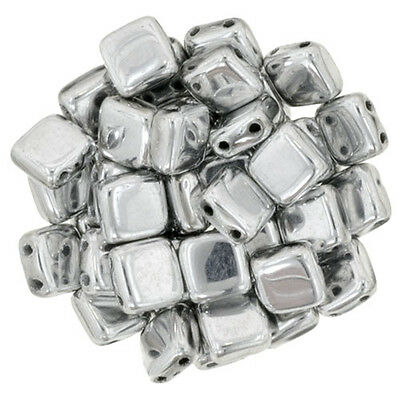 50pcs CzechMates Tile Beads 6mm Square Two Hole 20 Types to Choose