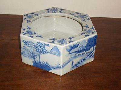 Good Chinese Blue & White Porcelain Hexagonal Bowl, Flattened Rim, 18Th/19Th C.