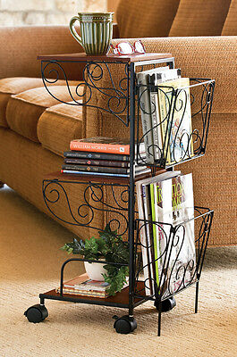 Wood & Metal Scrollwrok Rolling Magazine Storage Side Accent End Table
