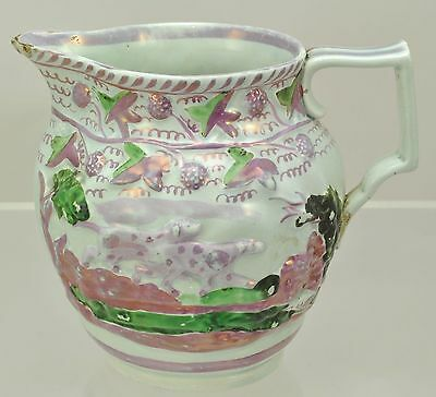 Antique Staffordshire Strawberry Lustre Dogs with Spots Pitcher 1830
