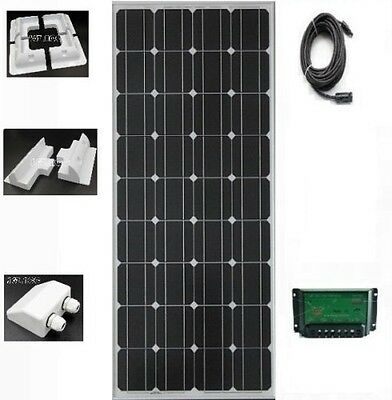 100W solar panel kit boat caravan motorhome camper 12v With Fixing Mounting New