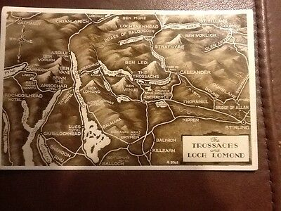 Vintage Valentine's The Trossachs and Loch Lomond Map postcard