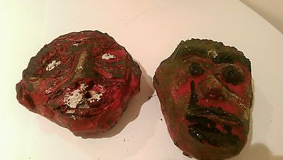 "FOLK ART PRIMITIVE POTTERY FACE MASKS FROM ""THE DAY OF SYN"" PAGEANT 1970,s"