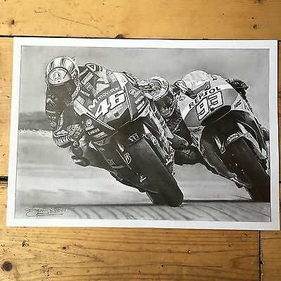 Limited Edition Print Of Valentino Rossi & Marc Marquez