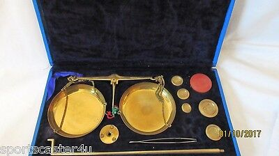 Lovely Vintage Balance Scales with Set of Brass Apothecary Weights In Case