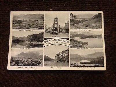 vintage Keswick on Derwentwater Queen of the lakes Postcard