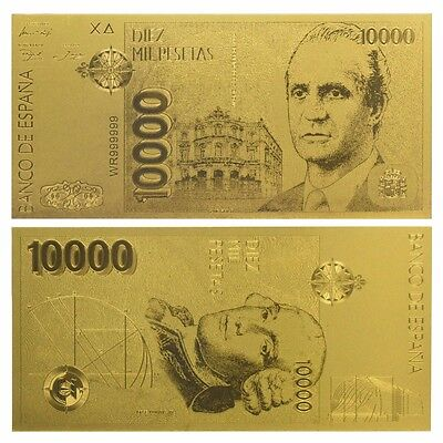 Billete 10000 Pesetas 1992 Oro Gold 24K New Mint!!