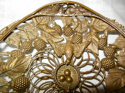 Antique Ornate Brass Bowl Bird Nest Handled
