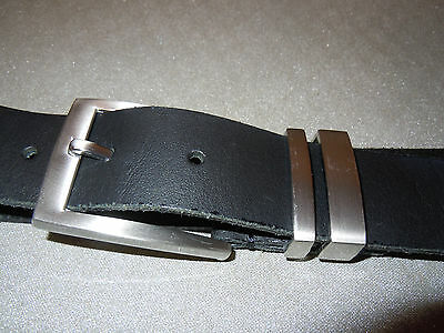 "mens black leather belt upto 36"" waist made in italy for next"